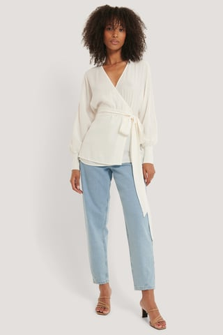 Offwhite Flowy Overlap Blouse
