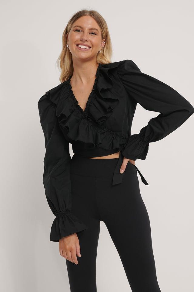 Black Überlappende Bluse