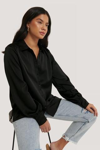 Black Shirt Met Ballonmouwen