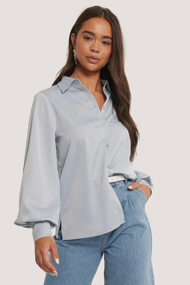 Skjorta Med Ballongärm Light Blue