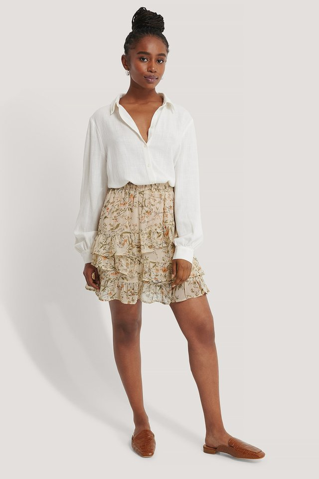 Flowy Panel Mini Skirt Cream