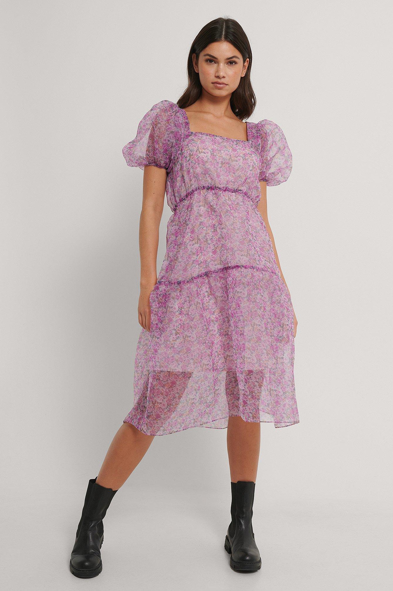 Pink Flower Flowy Printed Organza Dress na-kd