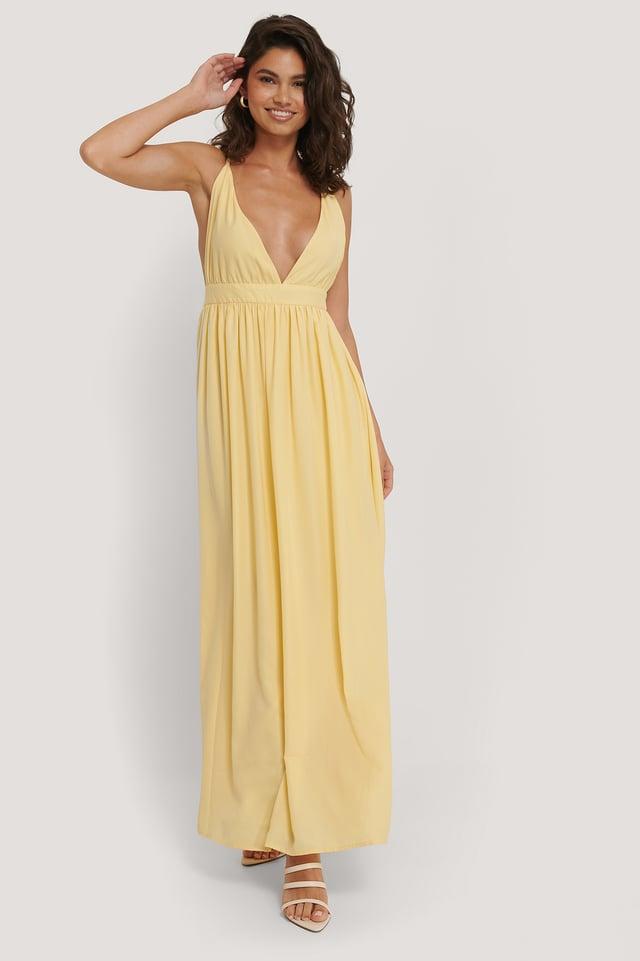 Flowy Strap Dress Light Yellow