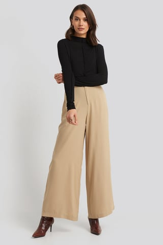Beige Flowy Wide Leg Pants