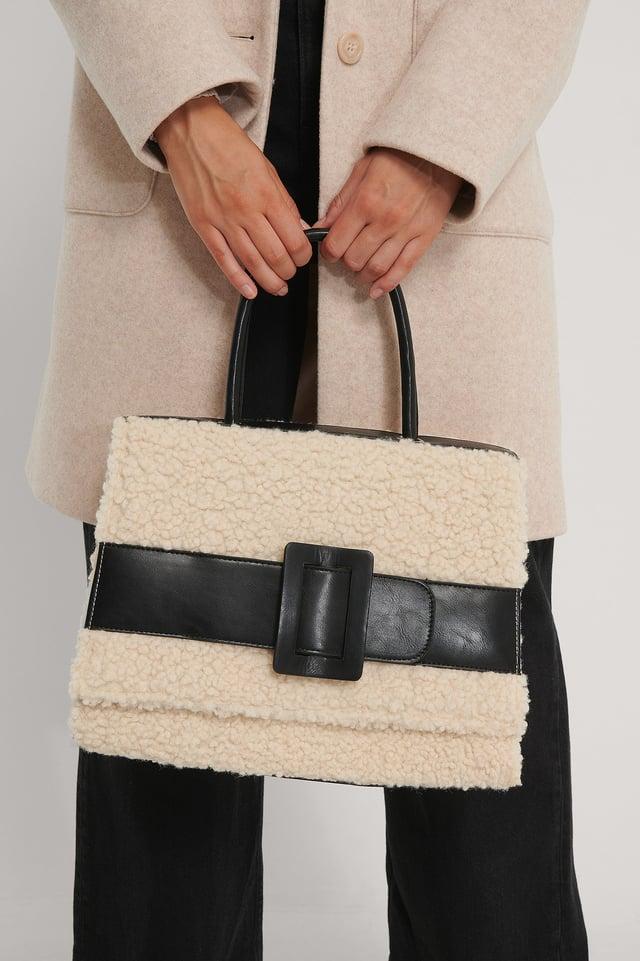 Fluffy Buckle Bag Beige