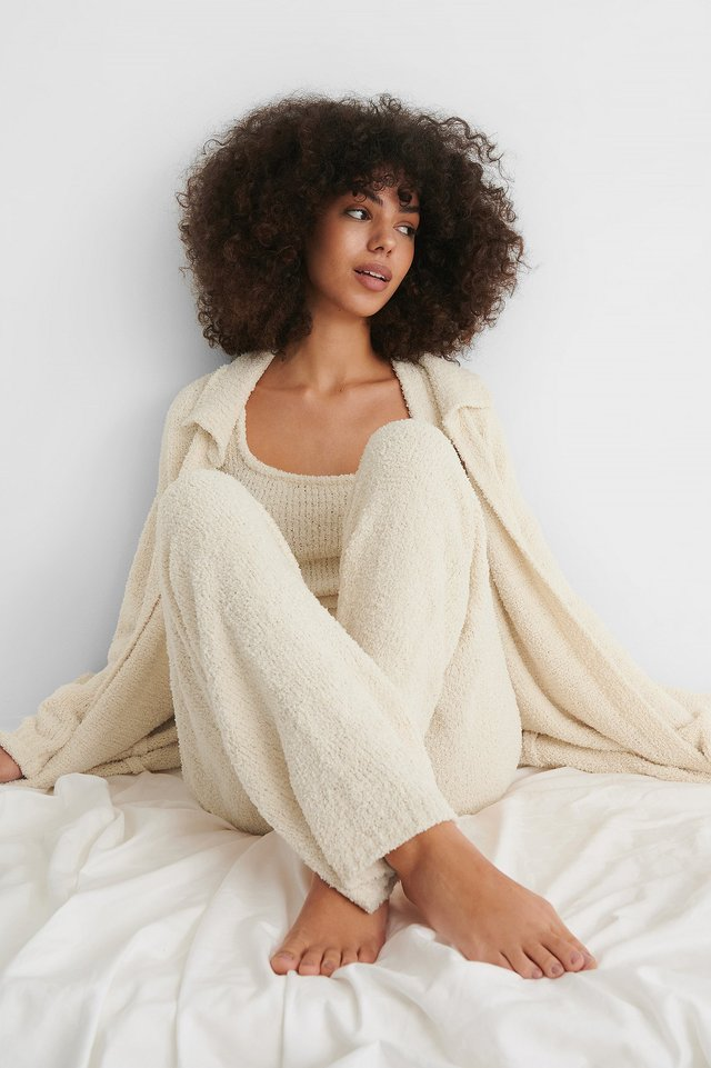 Cream Fluffy Knitted Cardigan