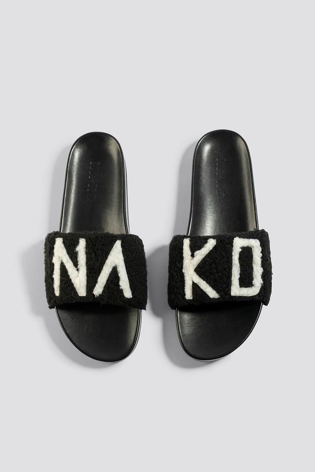 Fluffy NA-KD Slippers Black