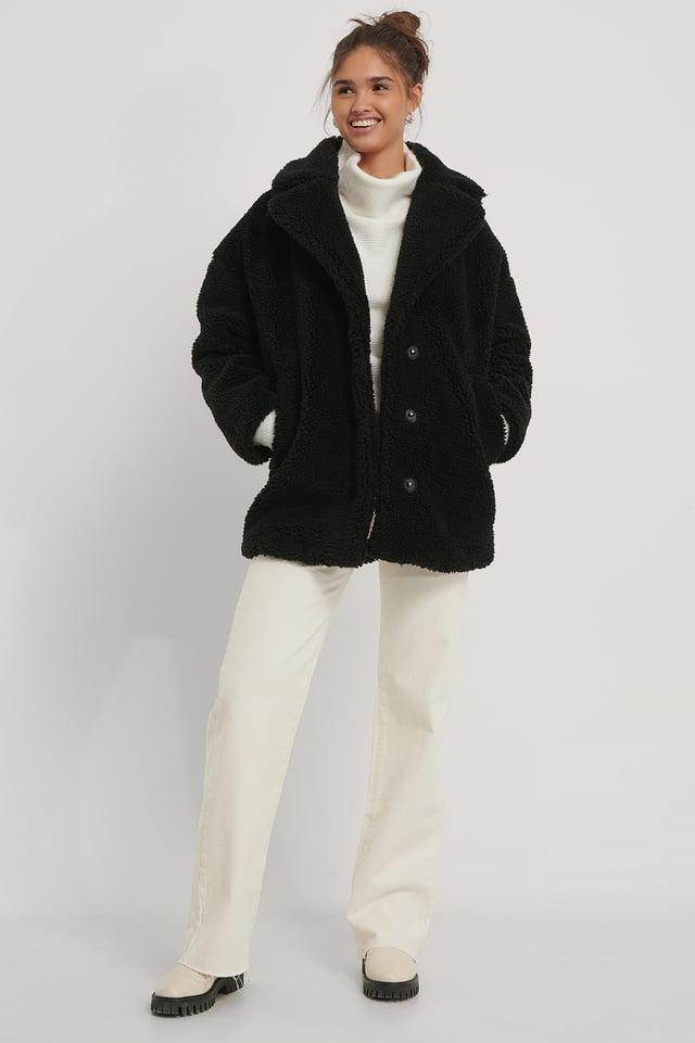 Fluffy Teddy Midi Coat Black