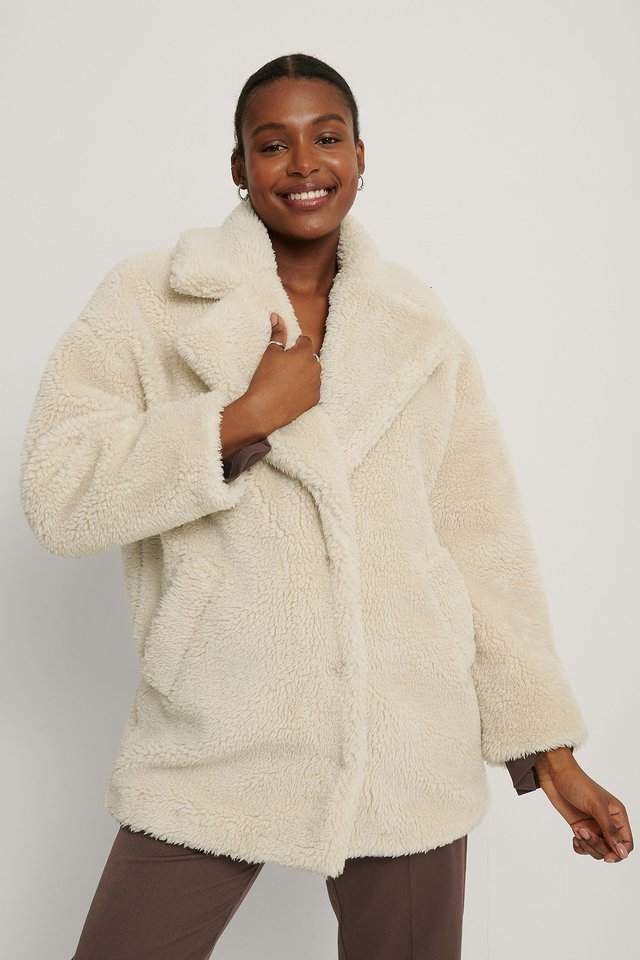 Fluffy Teddy Midi Coat Offwhite