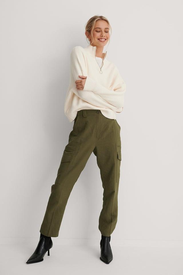 Fluid Linen-Blend Cargo Pants Khaki
