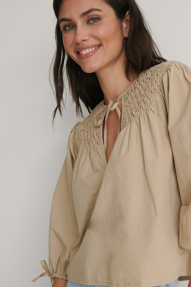 Beige Fold and Tucked Blouse