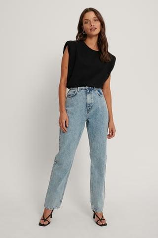 Acid Blue Organic Fold Up Straight High Waist Jeans
