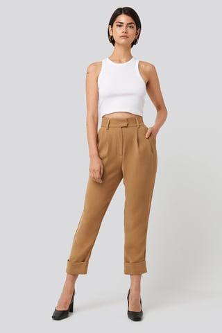 Beige Folded Cigarette Suit Pants