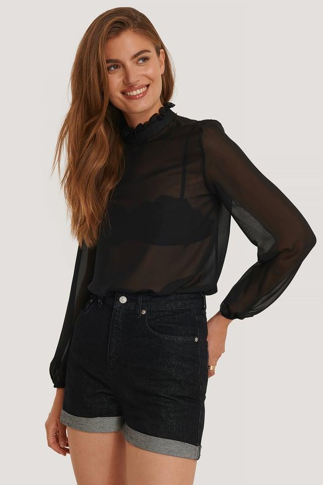Black Folded Hem Denim Shorts