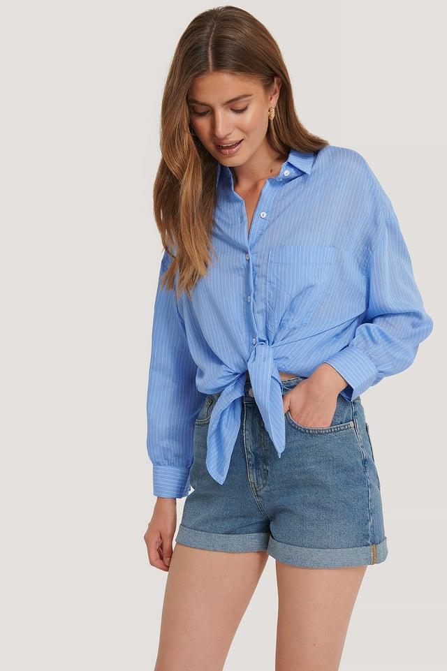 Mid Blue Folded Hem Denim Shorts
