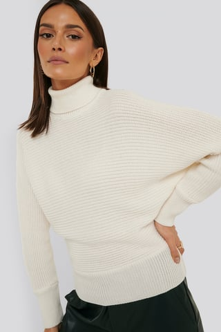 Offwhite Folded Knitted Sweater