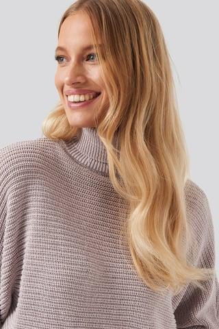 Dusty Light Purple Folded Knitted Sweater