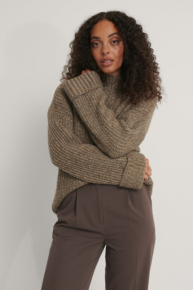 Folded Sleeve High Neck Knit Sweater Brown