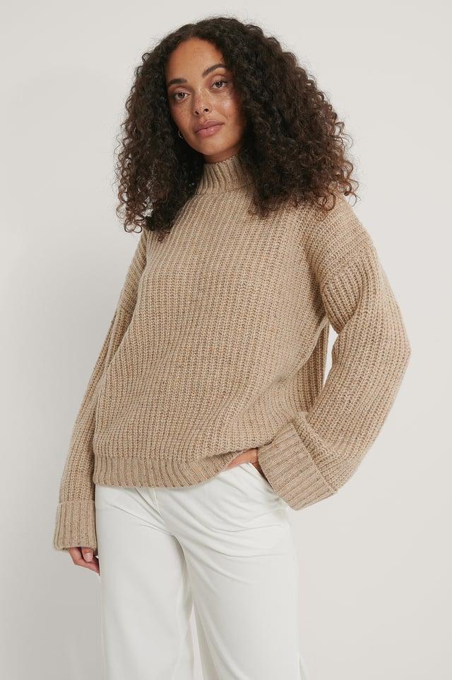 Folded Sleeve High Neck Knit Sweater Light Beige