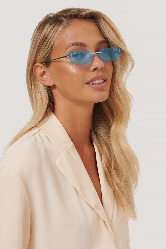 Frameless Slim Metal Sunglasses Blue