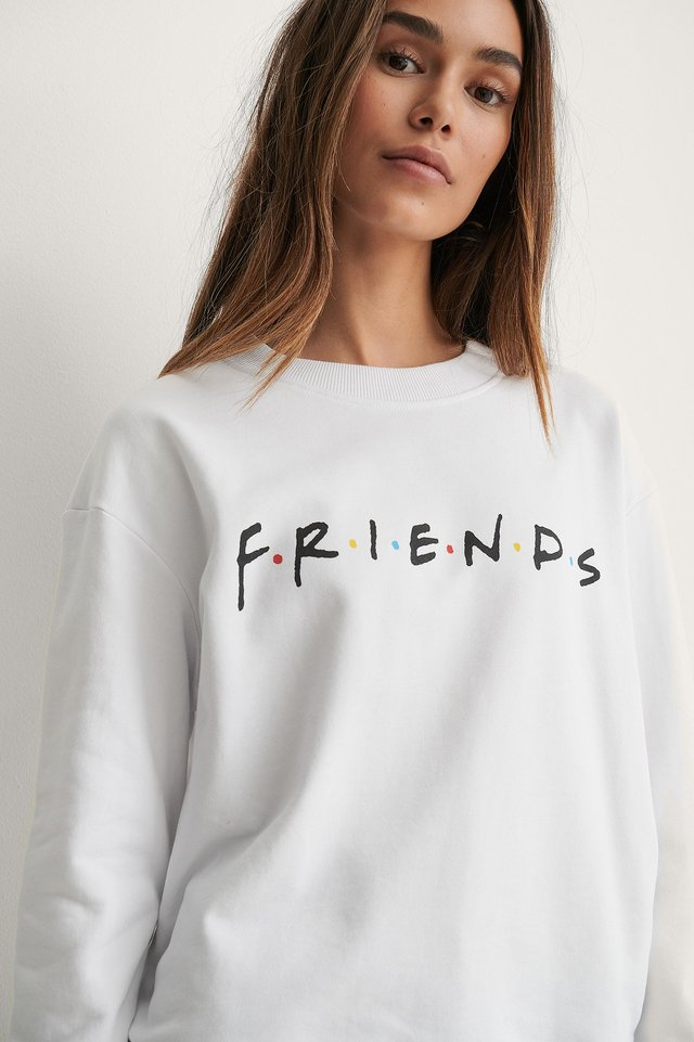 White Print Friends FRIENDS Print Basic Sweater