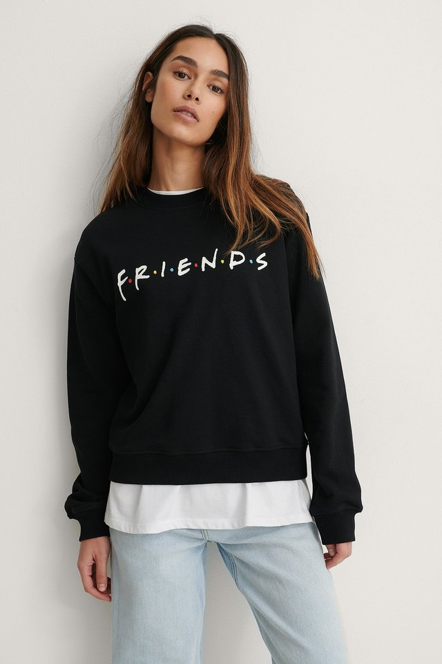 Black Print Friends FRIENDS Print Basic Sweater