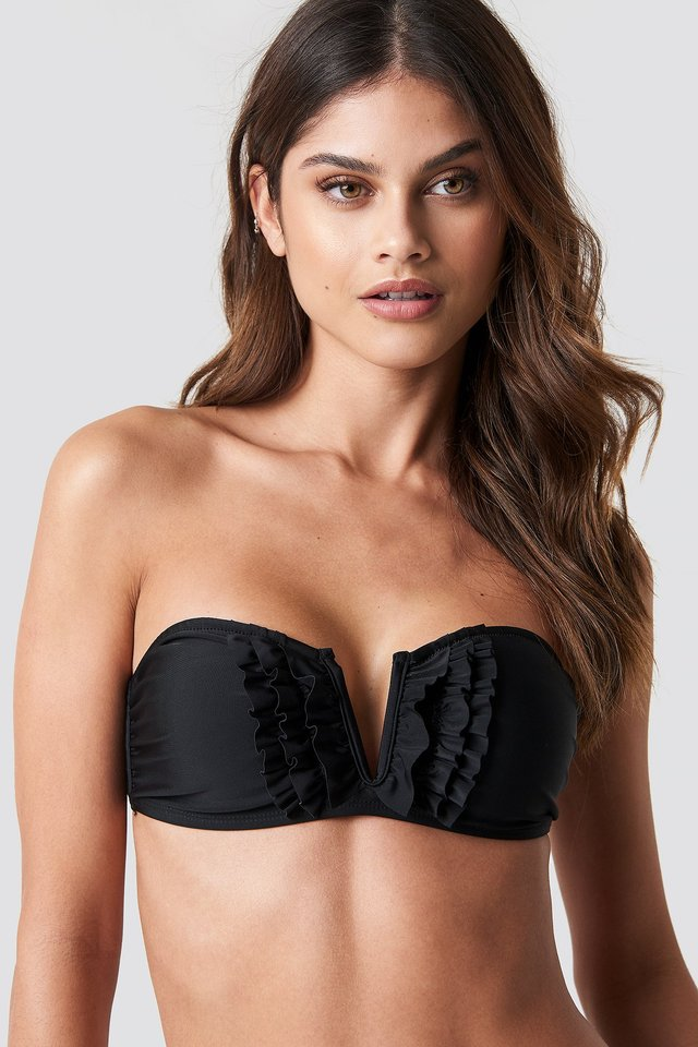 Frill Deep V Bandeau Bikini Black