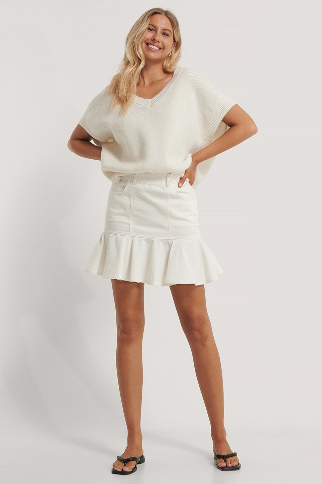 White Frill Denim Skirt