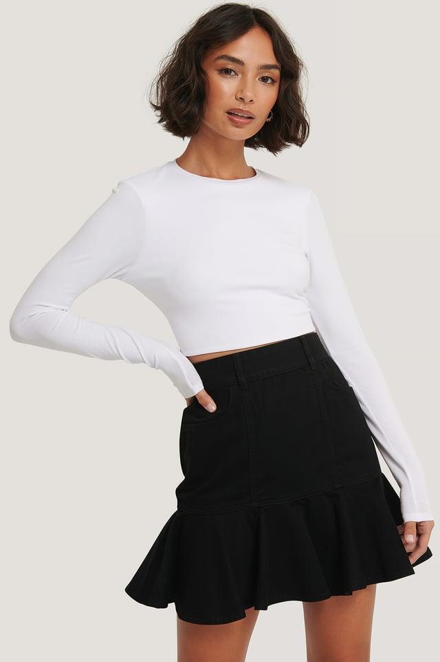 Frill Denim Skirt Black