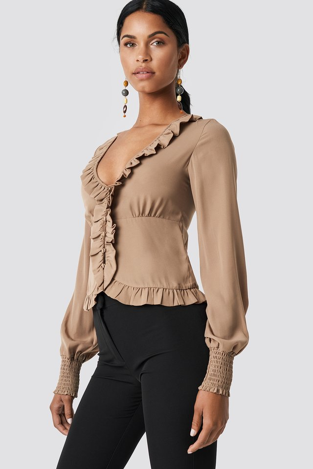 Frill Detail Buttoned Blouse Beige