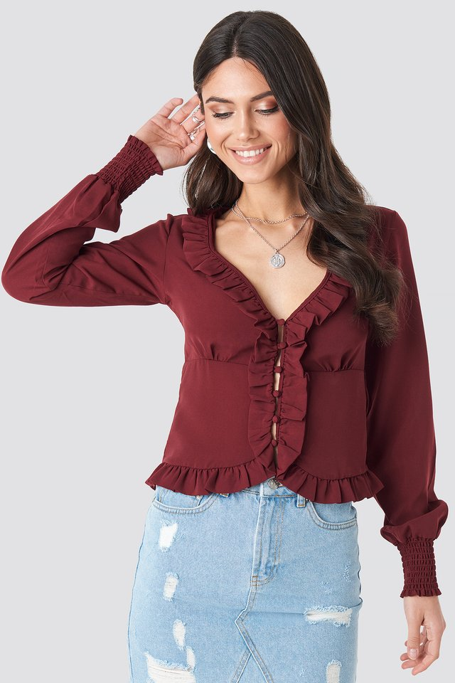 Frill Detail Buttoned Blouse Burgundy