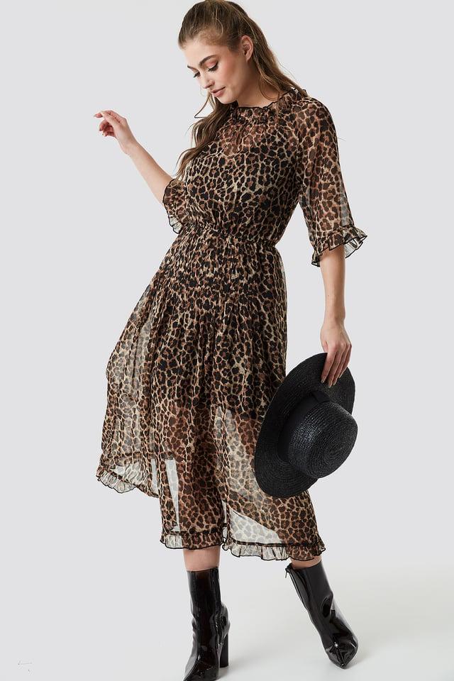 Frill Detail Chiffon Midi Dress Leoprint
