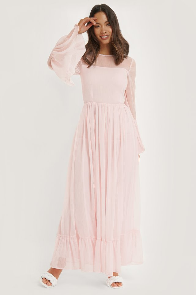Frill Detail Dress Dusty Pink