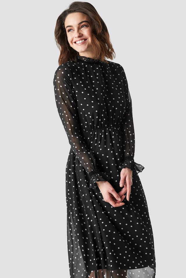 Frill Detail High Neck Chiffon Dress Black/White dots