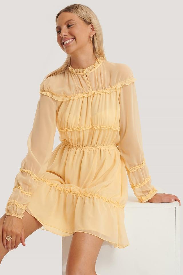Frill Detail LS Mini Dress Light Yellow