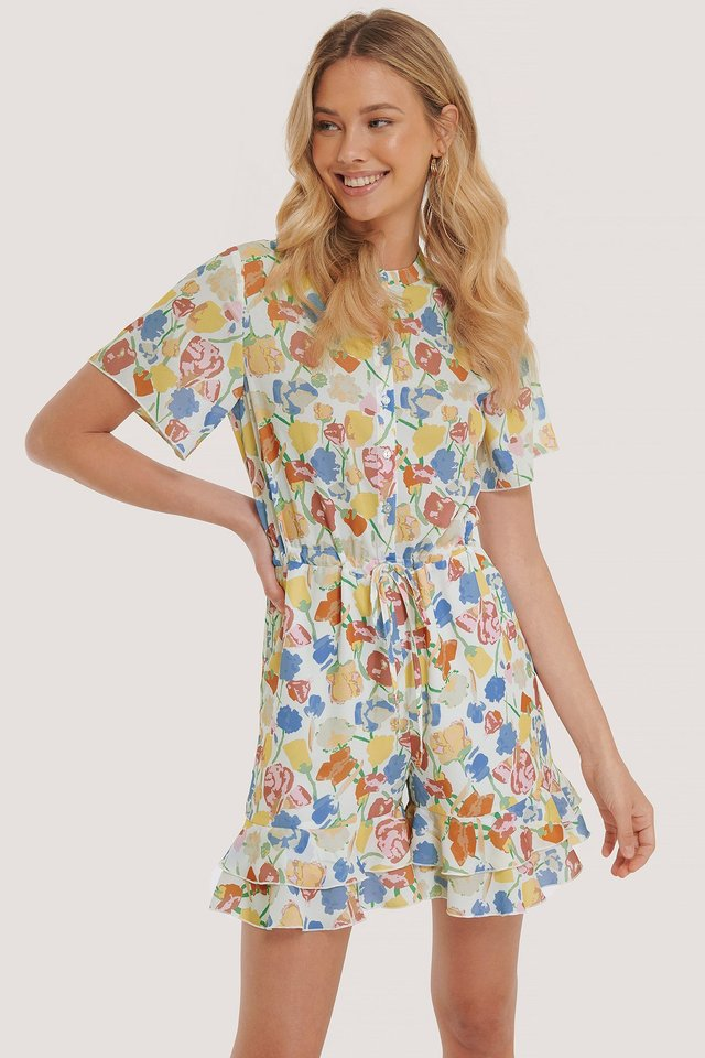 Frill Detail Playsuit Flower Print