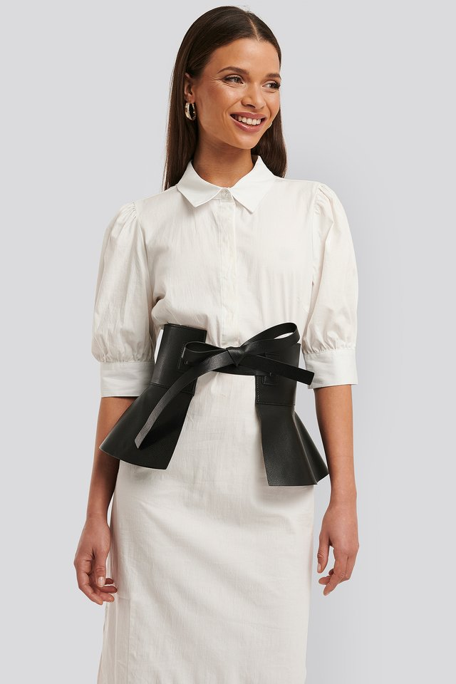 Frill Detail Waist Belt Black