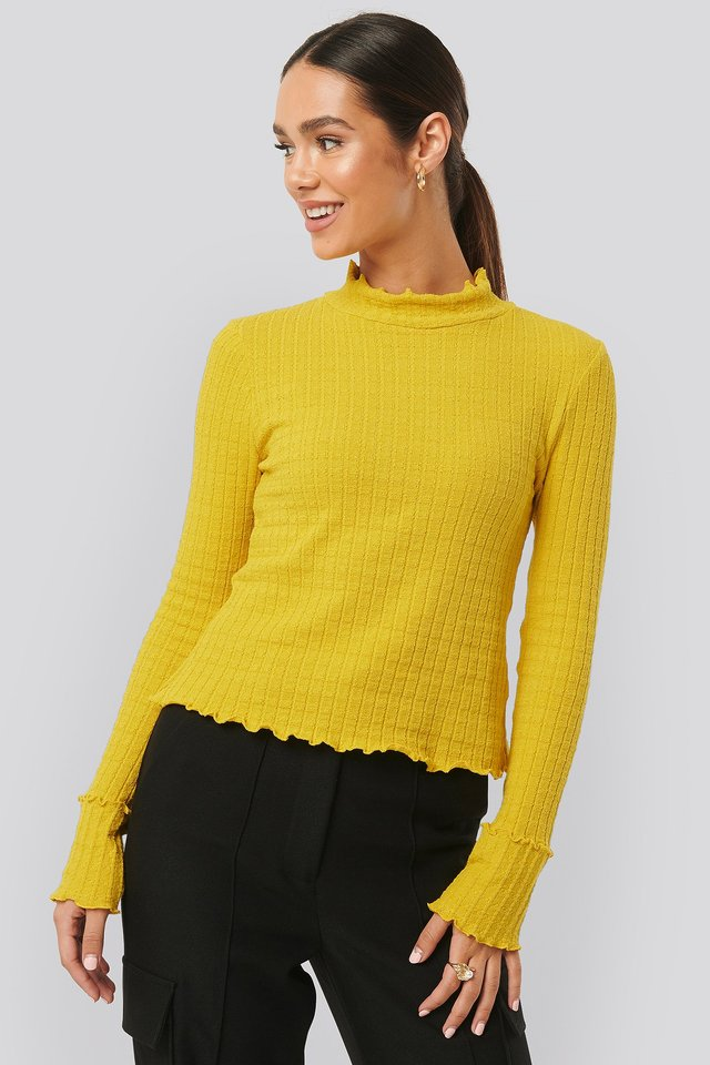 Frill End Ribbed Polo Sweater Mustard