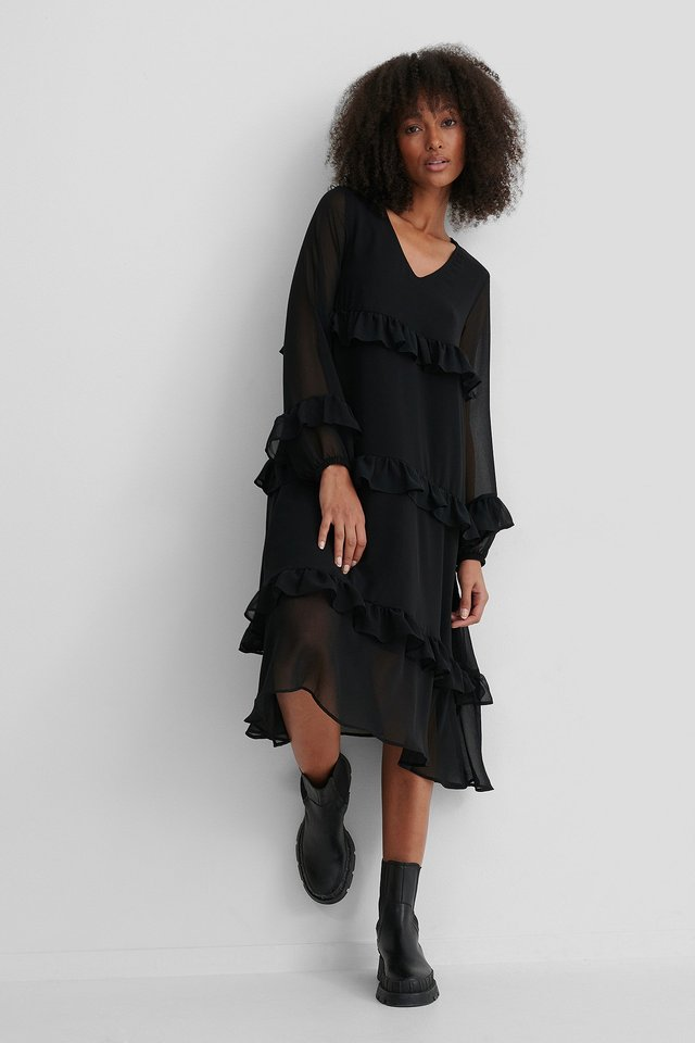 Frill Flowy V-Neck Dress Black