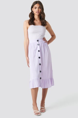 Light Purple Frill Hem Front Button Skirt