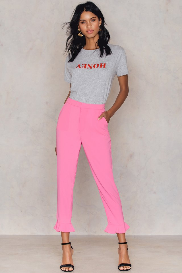 Frill Hem Pants Pink