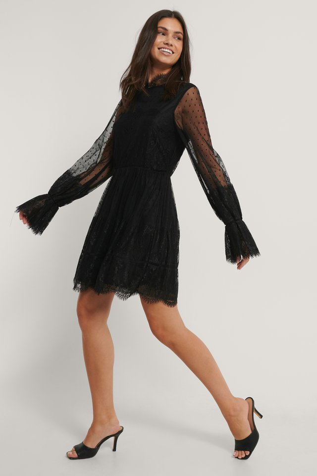 Frill Lace Dress Black
