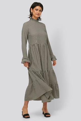 beige/Black Frill Neck Check Dress