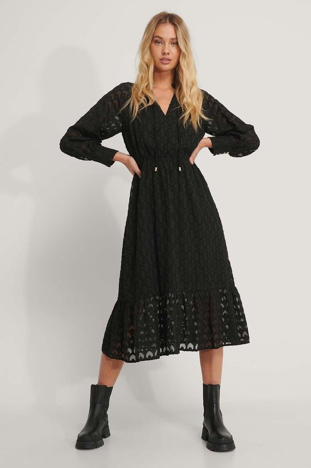 Frill Neck Jacquard Detail Midi Dress Black