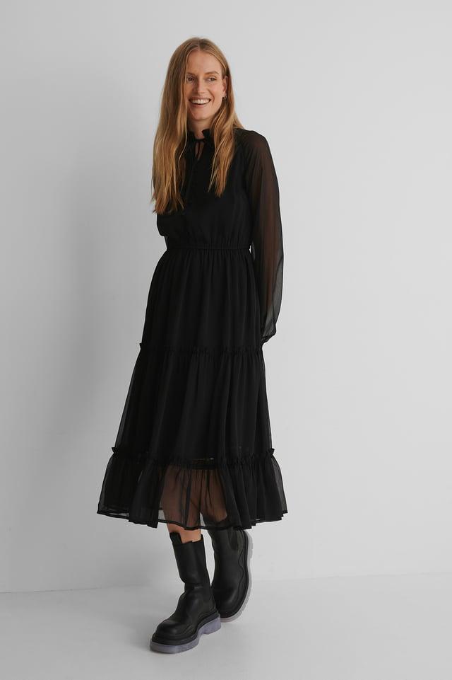Black Frill Neck Midi Dress
