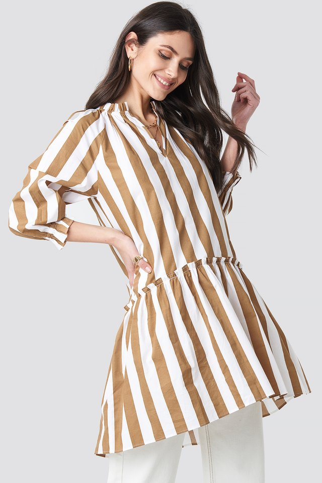 Frill Neck Striped Midi Dress White/Beige Stripe