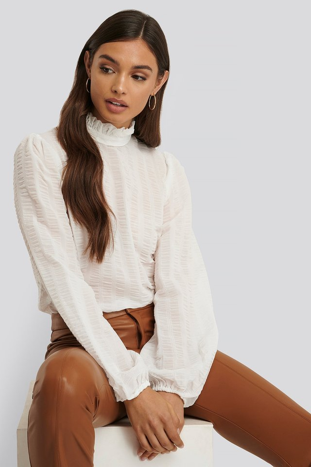 White Frill Neck Structured Blouse