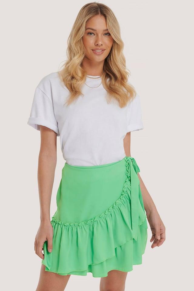 Frill Overlap Mini Skirt Green