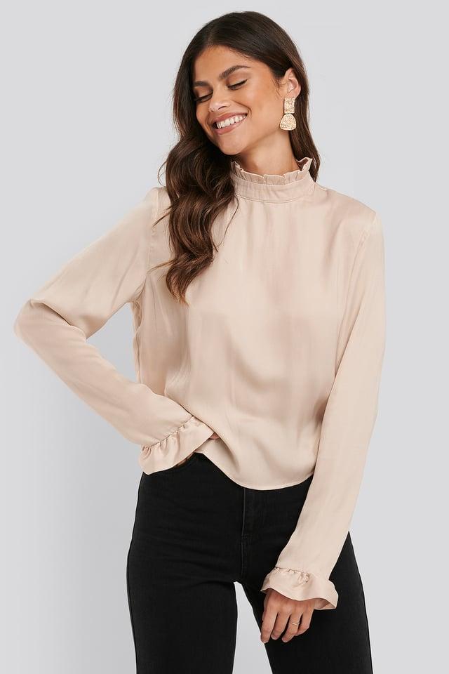 Frill Sleeve Elastic Collar Blouse Beige