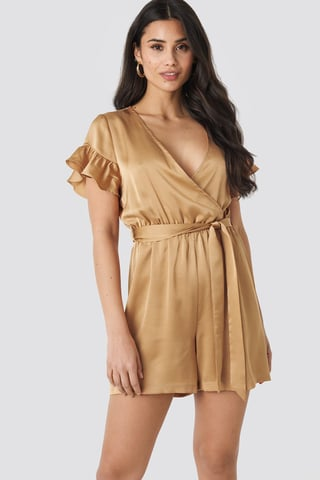 Beige Frill Sleeve Playsuit